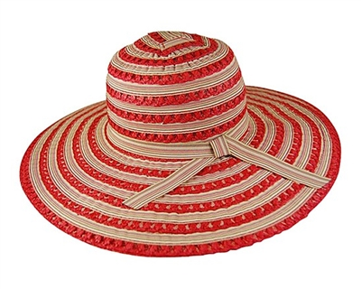 wholesale ladies sun hats - striped ribbon and toyo sun hat