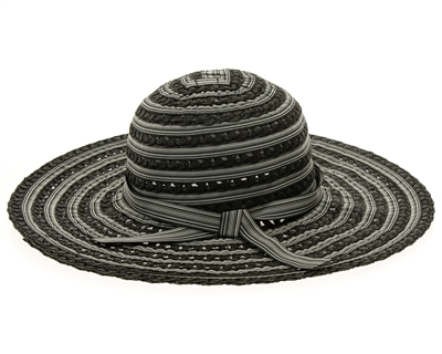 bulk ladies sun hats - striped ribbon and toyo sun hat wholesale