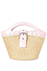 wholesale small straw handbags purses pink
