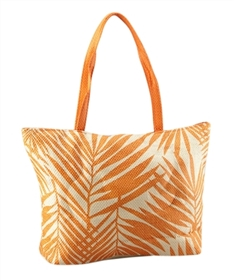 Bulk Leaf Print Straw Beach Totes - Wholesale Toyo Straw Beach Totes