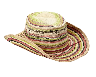 2520315a8f1 Wholesale Raffia Straw Cowboy Hats for Women - Rainbow Stripes