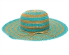 bulk straw sun hats - wholesale floppy hats hand crocheted striped straw sun hat