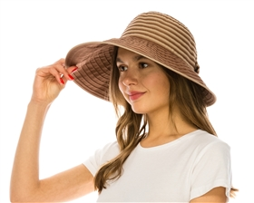 wholesale sun protection hats ribbon lampshade with striped bow