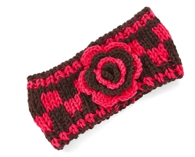 wholesale knit headband  checkered flower