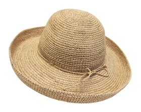 wholesale organic raffia straw hats - kettle turn-up hat