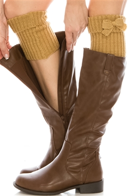 Wholesale Boot Cuffs Knit with Bow