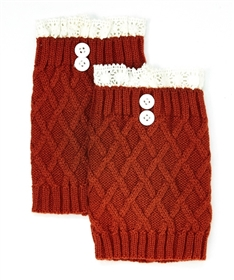 Wholesale Boot Cuffs Socks - Knit Lattice Lace Toppers w/ Button