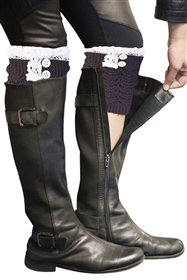 Wholesale Boot Cuffs Knit Lace Tops w/ Button