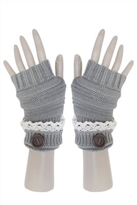 wholesale lace button gloves long fingerless