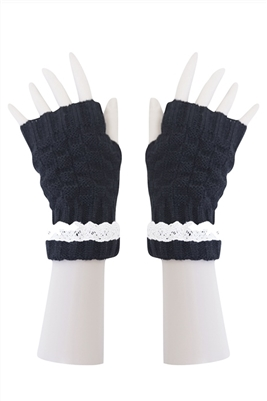 wholesale lace gloves checker knit long fingerless