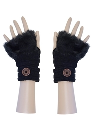 Short Wholesale Gloves with Fur and Button