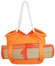 bulk canvas beach totes - straw bags with sand mat