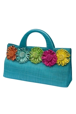 wholesale east-west sinamay purse  daisies