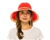 wholesale womens hats - packable kettle crusher hat in bright colors with raffia trim
