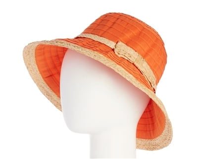 wholesale orange sun hats - packable kettle straw crusher hat - upf 50 sun protection