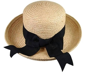 wholesale raffia straw turn-up hat