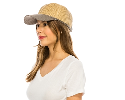 wholesale straw and fabric baseball cap