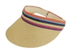wholesale straw sun visors multi stripe band
