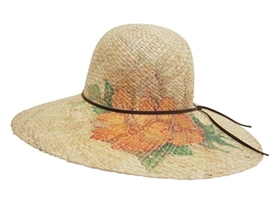 wholesale raffia straw sun hat  orange flowers