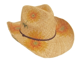 wholesale raffia cowboy hat  sunflowers