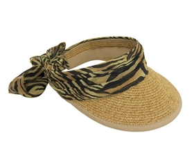 wholesale straw sun visors leopard band