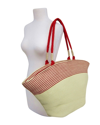large wholesale straw handbags - red striped top