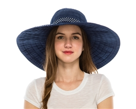 wholesale large ribbon crusher hat  polka dot trim