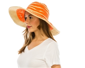 wholesale wide brim straw and ribbon hat  squiggles