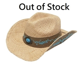 wholesale organic raffia straw cowboy hats blue embroidery