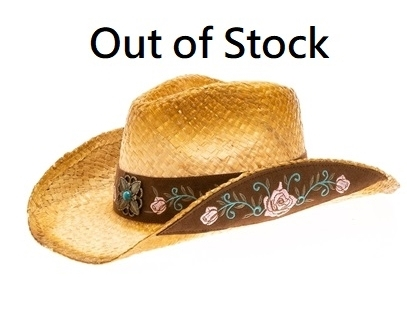 56497a7326d Wholesale Cowgirl Hats - Raffia Straw with Rose Embroidery - Los Angeles