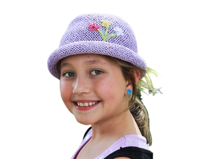 wholesale kids hats girls summer roller with flower embroidery