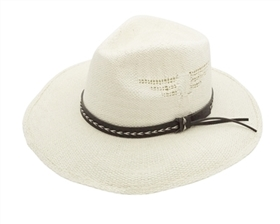 wholesale bangora straw panama hats -  side cutouts