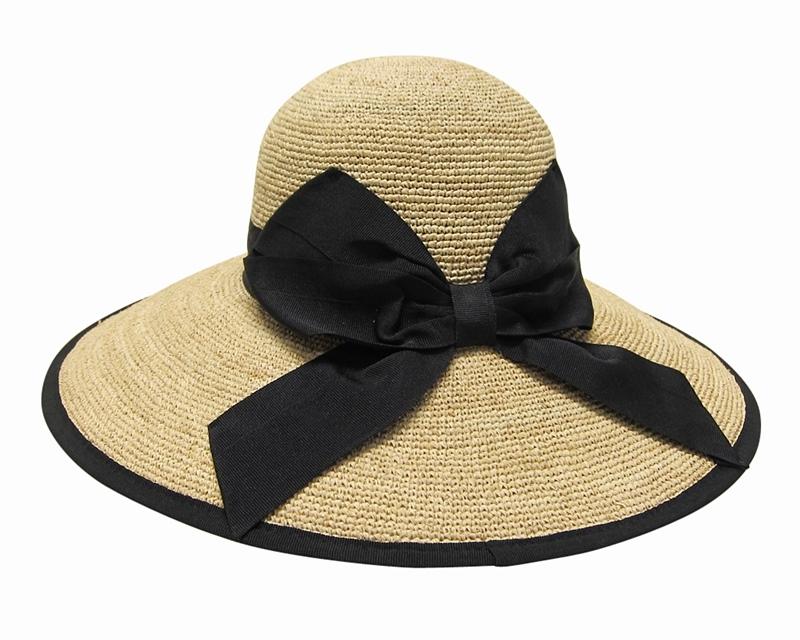 a95b7faab 620 Fine Raffia Lampshade Sun Hat with Black Bow