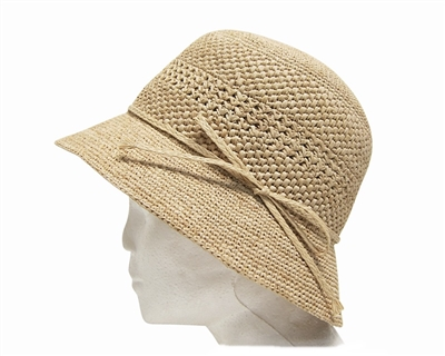 88c1d97db6a wholesale raffia straw hand crochet womens bucket hat