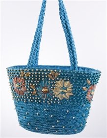 wholesale straw tote  wood beads