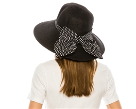 wholesale wide brim hats black natural polka dot bow