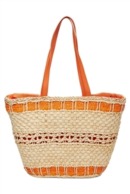 wholesale woven corn husk tote - orange
