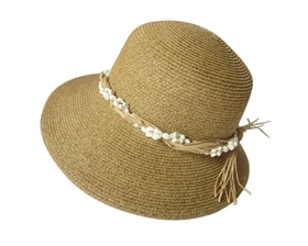 wholesale hats straw lampshade sun hat with seashells