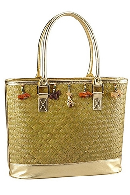 wholesale tote bag seagrass with animal charms
