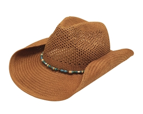 wholesale handwoven ladies toyo straw cowboy hat