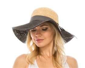 wholesale wide brim crochet raffia straw sun hat