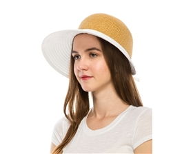 Sun Protection Hats - Straw Face Saver with Ribbon Brim