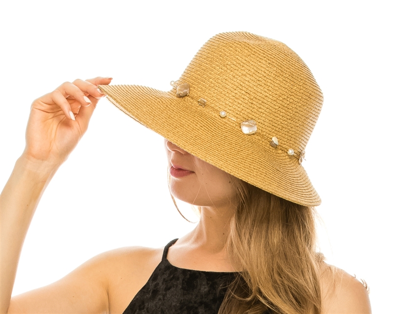 Wholesale Womens Straw Hats - Lampshade Beach Hat with Shells and Pearls 27bb58a79a37