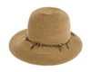 Wholesale Womens Straw Hats - Lampshade Hat with Feather Charms