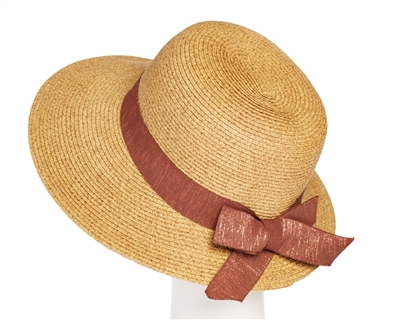 Wholesale Straw Hats - Lampshade Hat with Glittery Band