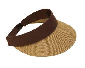 Wholesale Sun Visors - Heathered Straw Visor w/ Sweatband