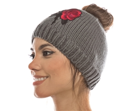 wholesale messey bun beanie womens winter hats