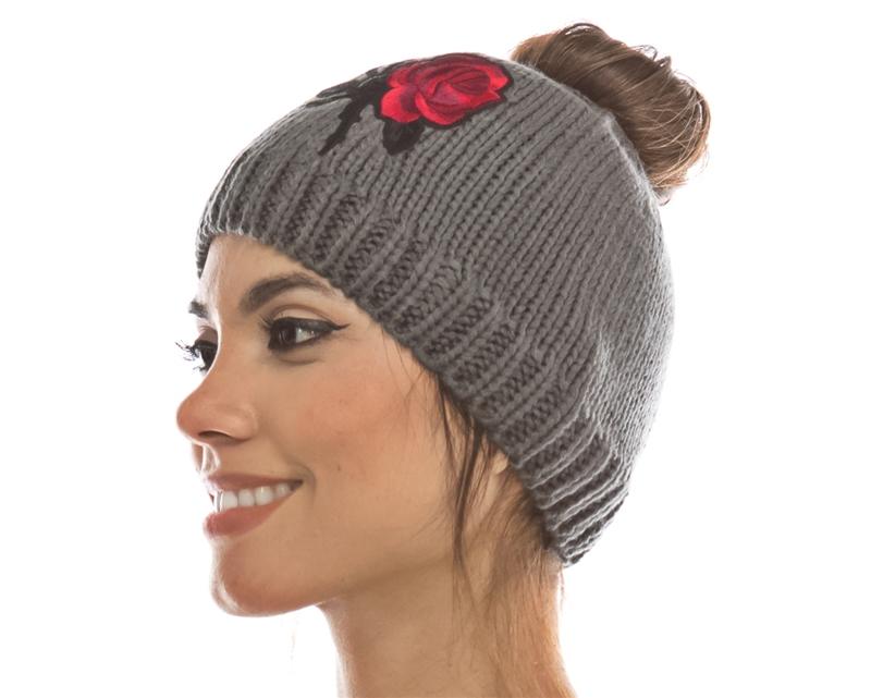wholesale messey bun beanie womens winter hats 7048a4e8c85