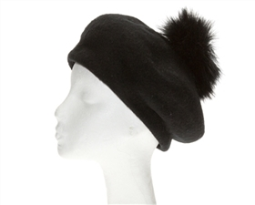 Winter Berets - Wool Hats Sparkly Band w Ostrich Pom