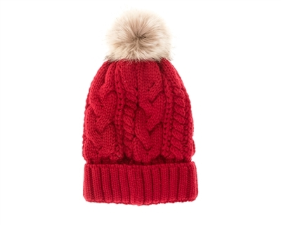 wholesale fur pom cable knit beanies
